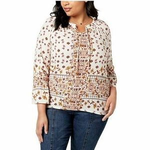 Style & Co 3X Ivory Pink Floral Top M2-01